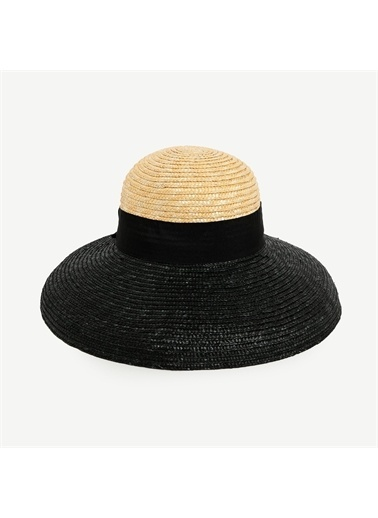 Yargıcı İki Renkli Hasır Şapka Siyah